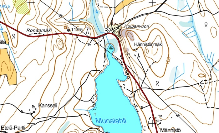 Munalahden topografiaa, jonka perusteella tarinan kätköpaikka sijaitsee joko
