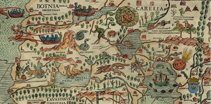 Olaus Magnuksen 1500-luvun alussa laatimasta pohjoismaita kuvaavasta kartasta (Carta marina) on vaikea hahmottaa maantieteellisiä alueita.