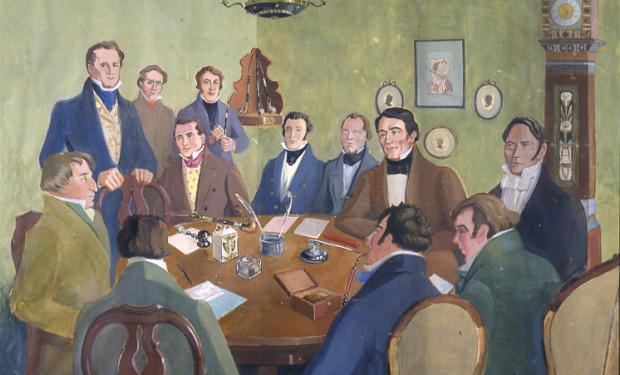 Kuvitteellinen asetelma SKS:n perustamiskokouksesta 16.2.1831. Maalaus on G. Paeerin akvarelli vuodelta 1932. © SKS