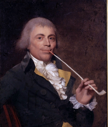 James Earlin maalaama muotokuva liitupiipunpolttajasta (Francis Welch Smoking A Clay Pipe)